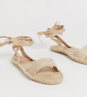 ASOS DESIGN - Jenica – Espadrille-Sandalen mit weiter Passform-Beige