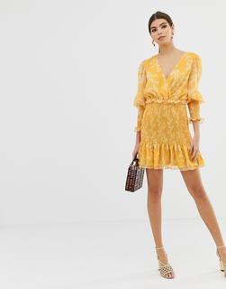 Keepsake - Embrace - Minikleid mit Blumenmuster in Gold - Gelb