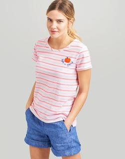 Joules Clothing - Pink Stripe Nessa Embroidered Lightweight Jersey T-Shirt  Size 16