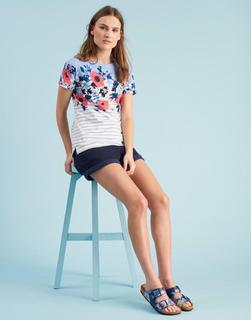Joules Clothing - Haze Blue Camelia Stripe Nessa Print Jersey T-Shirt  Size 6