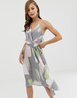 ASOS DESIGN - minimal drape midi dress in asbtract brush print