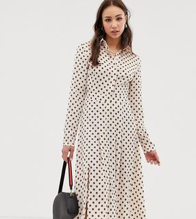 Glamorous Tall - Midi-Hemdkleid mit Punkt- und Blumenmuster-Cremeweiß