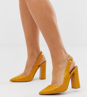 ASOS DESIGN - Wide Fit Penley slingback high heels in croc print - £ 24.50