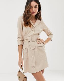 ASOS DESIGN - linen mini tux dress with belt
