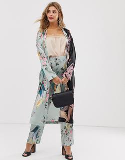 Liquorish - Langer Kimono mit Vogelprint, Kombiteil - Mehrfarbig