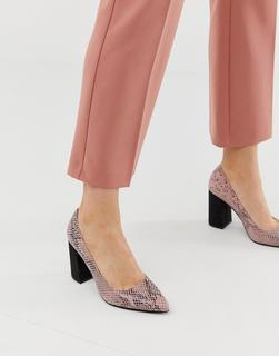 Blink - pointed block heeled shoes in snake