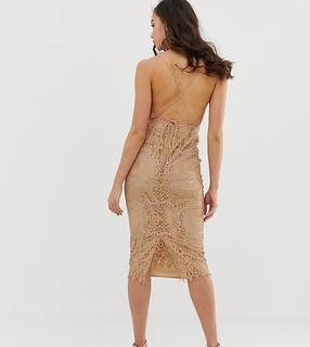 ASOS Tall - ASOS DESIGN Tall square neck midi pencil dress in lace - £ 22.50