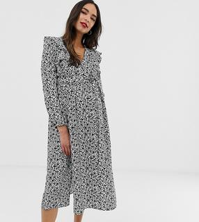 Glamorous Bloom - long sleeve midi dress with ruffle detail in ditsy floral - £ 33.50