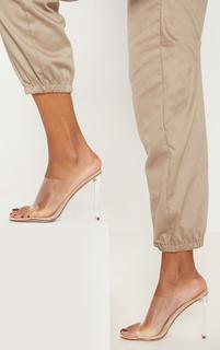 PrettyLittleThing - Nude Clear High Flat Heel Mule, Pink