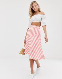 Vila - stripe asymetric hem midi skirt