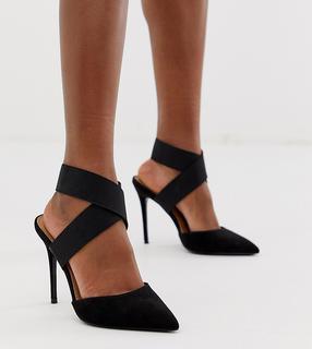ASOS DESIGN - Wide Fit – Payback – Schwarze High-Heels mit elastischen Riemen