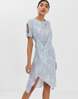 UNIQUE21 - Midi-Wickelkleid mit Jacquard-Muster und verdrehtem Design - Mehrfarbig