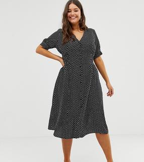 ASOS Curve - ASOS DESIGN Curve button through midi tea dress with shirred waist in spot print