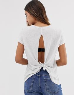 G-Star - BeRaw - T-Shirt mit Rückenausschnitt und Knotendetail - Blau