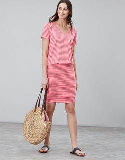 Joules Clothing - Red Stripe Candice V Neck Jersey Dress With Gathered Skirt  Size 10