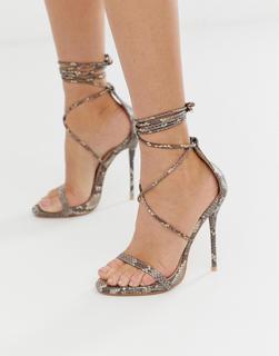 SIMMI Shoes - Simmi – London Shania – Absatzsandalen mit Schnürung und Schlangendesign-Beige