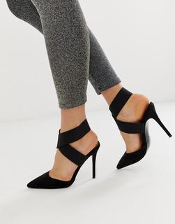 ASOS DESIGN - Payback – Schwarze High-Heels mit elastischen Riemen