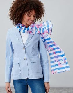 Joules Clothing - Blue Stripe Floral Wensley Printed Scarf  Size One Size