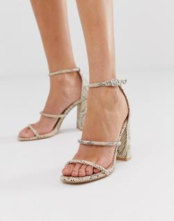 SIMMI Shoes - Simmi London Myra snake block heeled sandals