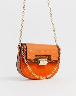 River Island - saddle crossbody bag in orange