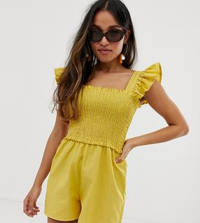 ASOS Petite - ASOS DESIGN Petite shirred playsuit with frill sleeve