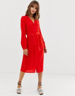 Vero Moda - midi shirt dress with fabric covered belt
