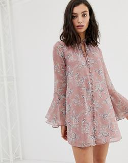 En Crème - En Creme - Durchgeknöpftes Swingkleid mit Vintage-Blumenmuster - Rosa