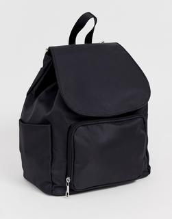 ASOS DESIGN - Stoff-Rucksack mit Vordertasche - Schwarz