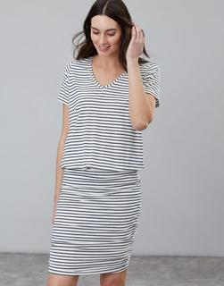 Joules Clothing - NAVY CREAM STRIPE Candice V Neck Jersey Dress With Gathered Skirt  Size 18