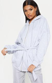PrettyLittleThing - Grey Oversized Belted Sweat Hoodie, Grey