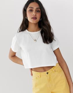 ASOS DESIGN - Ultimate – Kurzes, weißes T-Shirt aus Bio-Baumwolle mit gerollten Ärmeln