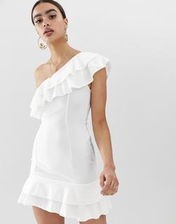 In The Style - Rüschenkleid mit One-Shouldeder-Träger - Weiß
