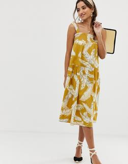 ASOS DESIGN - trapeze midi cotton sundress in palm print