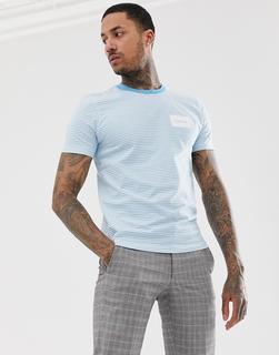 Calvin Klein - box logo stripe crew neck t-shirt in blue