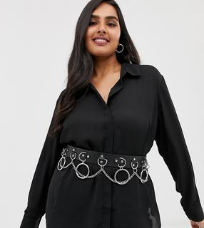 ASOS Curve - ASOS DESIGN Curve multi ring and chain waist and hip belt