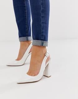 ASOS DESIGN - Penley slingback high heels in white patent
