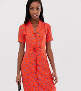 Fashion Union Tall - fitted midi shirt dress in floral