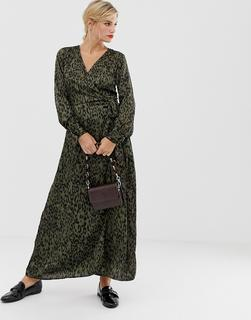 Liquorish - Midi-Wickelkleid mit Leopardenprint - Mehrfarbig