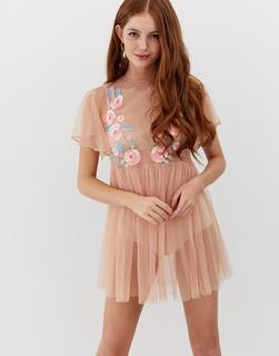 Glamorous - Besticktes Freizeitkleid-Rosa