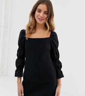 Bershka - square neck shirred dress in black - £ 12.50