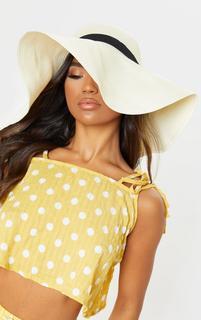 PrettyLittleThing - Cream Floppy Sun Hat, White