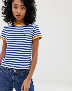 Tommy Jeans - Eng anliegendes Ringer-T-Shirt mit Streifen - Mehrfarbig
