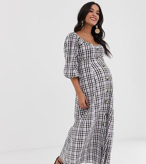 ASOS Maternity - ASOS DESIGN Maternity – Kariertes Maxikleid mit Puffärmeln und durchgehender Knopfleiste-Mehrfarbig