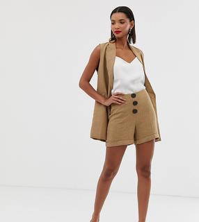MANGO - button front herringbone shorts in brown