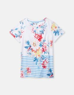 Joules Clothing - White Stripe Whitstable Floral 204531 Printed Lightweight Jersey T-Shirt  Size 14