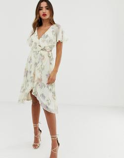 ASOS DESIGN - midi dress with cape back and dipped hem in cream based floral