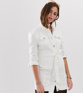 One Above Another - Denim-Hemdkleid mit Gürtel - Weiß