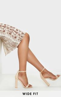 PrettyLittleThing - Nude Wide Fit Block Heeled Sandals, Pink