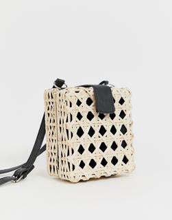 ASOS DESIGN - natural open weave straw cross body bag