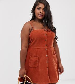 ASOS Curve - ASOS DESIGN Curve cord button through mini dress in tan
